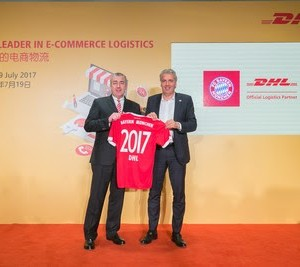 (L-R ) Jürgen Gerdes, Board Member, Post-eCommerce-Parcel, Deutsche Post DHL Group, and Joerg Wacker, Executive Board Member, Internationalization and Strategy, FC Bayern Munich AG