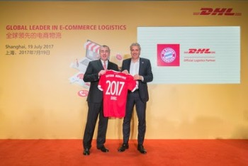(L-R ) Jürgen Gerdes, Board Member, Post-eCommerce-Parcel, Deutsche Post DHL Group, and Joerg Wacker, Executive Board Member, Internationalization and Strategy, FC Bayern Munich AG