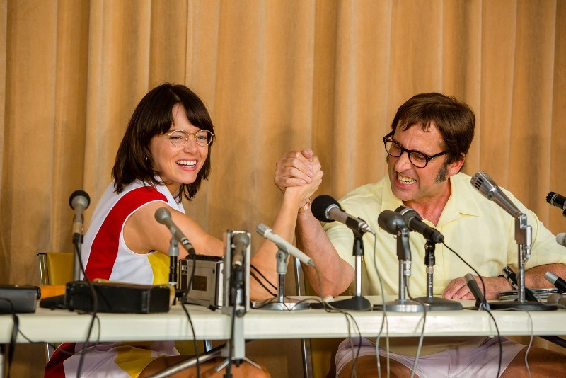 """Emma Stone and Steve Carell  in """"Battle of the Sexes"""" (20th Century Fox photo)"""