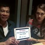 President Rodrigo Duterte with BAN Toxics' Campaign and Advocacy Specialist Anna Kapunan.