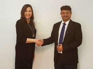 Jennifer S. Ligones, President and CEO of Third Pillar Business Applications, Inc. formalizing the exclusive partnership with Shreyas Merchant, Executive Vice President and COO of Eternus Solutions Private Ltd.