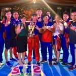 The victorious ABAP national boxing team pose after receiving the trophy and cash incentive As Team Champions of the Kapolri Cup in Manado, Indonesia. From left, coach Roel Velasco, Carolyn Calungsod, Aira Villegas, Ramel Macado, coach Romeo Brin, tournament Supervisor Karina Picson, Rogen Ladon, Ronald Chavez Jr, Nesthy Petecio, Josie Gabuco, Irish Magno, ABAP'S Reyes, coach Boy Velasco and Junmilardo Ogayre.