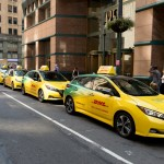 A fleet of 13 Nissan Leafs is available for the eShuttle service until Friday. New Yorkers can get free rides on the electric vehicles from the eShuttle station on Fifth Avenue between 8th and 9th Streets, and can go as far as south as 8th Street and north to 57th Street. (Photo: Business Wire)