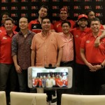 Team officials and players from Ginebra and San Miguel pose wth PBA Commissioner Willie Marcial (PBA Images)