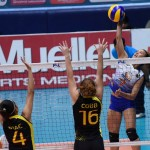Bang Pineda of Generika attempts against Michelle Cobb and Norielle Ipac of F2 Logistics