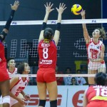 Raqchel Ann Daquis of Cignal attacks on MJ Philips and Mika Reyes of RP Team