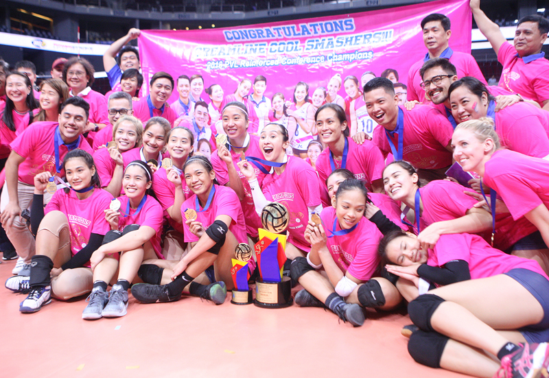 The Creamline Cool Smashers display their medals and trophies after bagging the PVL Season 2 Reinforced Conference crown via sweep over the PayMaya High Flyers.