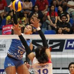 Pocari import Arielle Love goes one-on-one against Creamline counterpart Kuttka Kaewpin in one of the highlights of Game One of their best-of-three semifinal series in the PVL Reinforced Conference.
