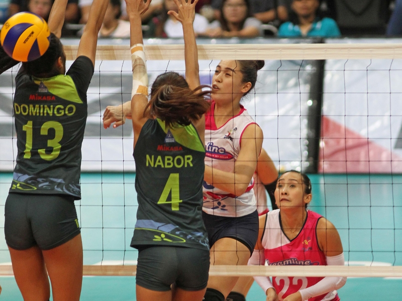 Grethcel Soltones, in action against Risa Sato in Game One