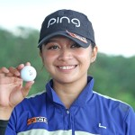 Princess Superal holds the ball after scoring an ace on No. 17