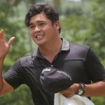 Justin Quiban acknowledges cheers from the gallery after completing his five-stroke victory in the ICTSI Bacolod Golf Challenge.