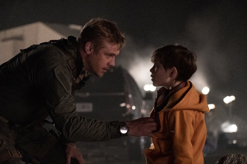 "Boyd Holbrook, left, and Jacob Tremblay star in Twentieth Century Fox's ""The Predator."""