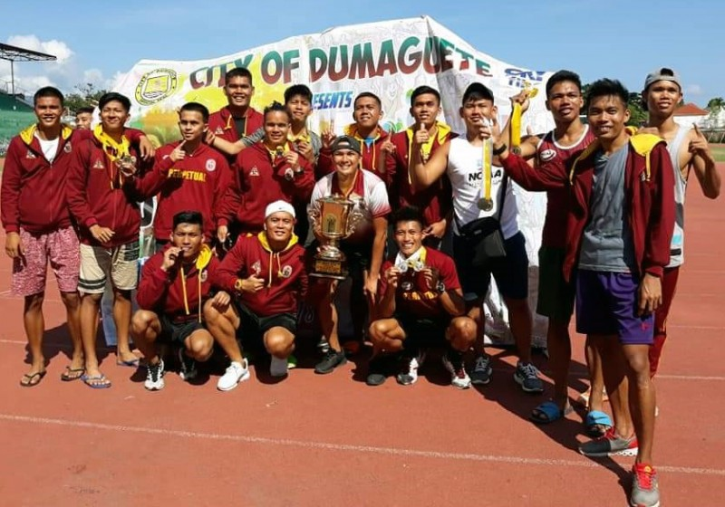 The 14-man team of Perpetual Altas Track and Field Team tallied 10 Golds, 6 Silver and 3 Bronze to clinched the Unigames 2018 Championship Crown, Thursday, October 25, 2018 at Philippine University Games (Unigames) in Dumaguete City.  (Dennis Abrina/UPH)