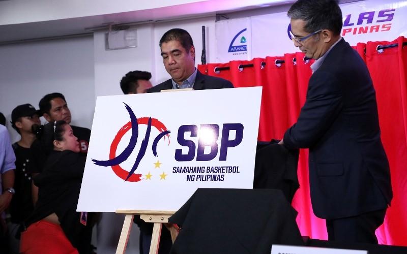 PBA Commissioner Willie Marcial (L) and SBP President Al Panlilio (R) unveils the new SBP logo. (PBA Images)
