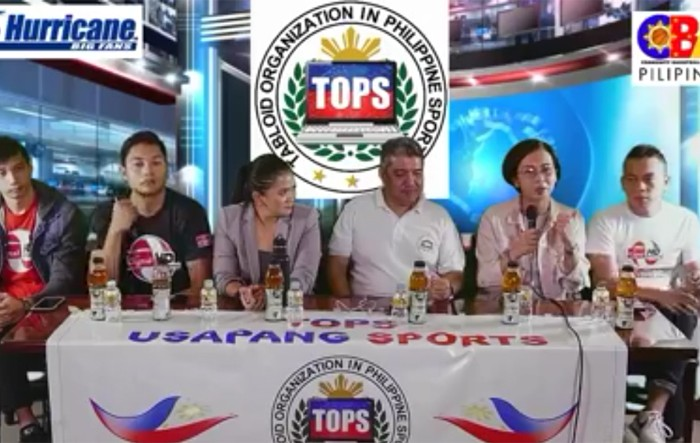 SPIKER'S Turf tournament director Mossy Rivera (second from right) discusses the format of the only semi-pro tournament in mne's volleyball during the 'Usapang Sports' presented by the Tabloids Organization in Philippine Sports (TOPS) on Thursday at the National Press Club (NPC) in Intramuros, Manila. Also in photo (from left) national team players Peter Torres and Rex Intal, TOPS president Ed Andaya and Cignal HD official Von Reinhart Gaa.