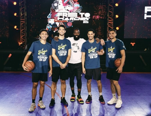 James Harden with players of the BEARD game - Jason Credo, Troy Rike, Roosevelt Adams, and Kobe Paras