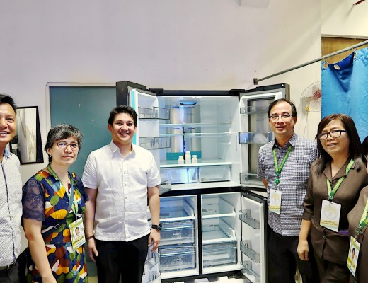 Dr. Mary Anne Ilao (OIC, Department of Newborn Medicine), Dr. Roberto Montaña (OIC, Office of the Chief of Medical Professional Staff), Dr. Esmeraldo Ilem (Medical Center Chief), Jose Alain Dela Merced (Assistant Chief Nurse), Hermenigilda Dayao (KMC Area Manager), and Solita D Garcia (NICU Area Manager) of the Dr. Jose Fabella Memorial Medical Center witness the handover of Samsung Electronics Philippines donation of two cutting-edge refrigerators to Dr. Jose Fabella Memorial Medical Center.