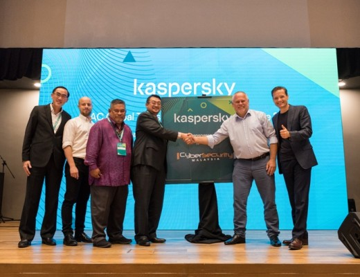 (L-R) Yeo Siang Tiong, General Manager for Southeast Asia at Kaspersky; Anton Shingarev, Vice President for Public Affairs at Kaspersky; Lieutenant Colonel Mustaffa Bin Ahmad (Retired), Senior Vice President for Outreach & Capacity Building at CyberSecurity Malaysia; Dato' Ts. Dr. Amirudin Abdul Wahab, CEO at CyberSecurity Malaysia; Eugene Kaspersky, CEO at Kaspersky; and Stephan Neumeier, Managing Director for Asia Pacific at Kaspersky