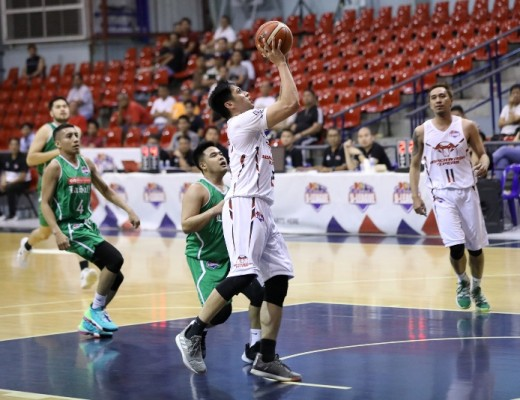 Jay- R Cawaling goes p for a shot against Lois Batungbakal (PBA Media Bureau)