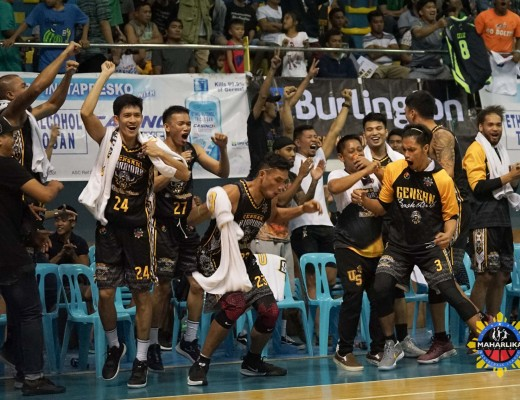 Members of the Gen San Warriors celebrate after dealing the San Juan Knights their first loss of the season