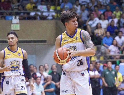 Michael Mabulac (holding the basketball) and the rest of the Bacoor Strikers will need to get their acts together to get back on the winning track.