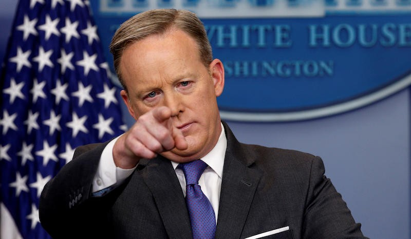 White House spokesman Sean Spicer takes questions during his press briefing at the White House in Washington