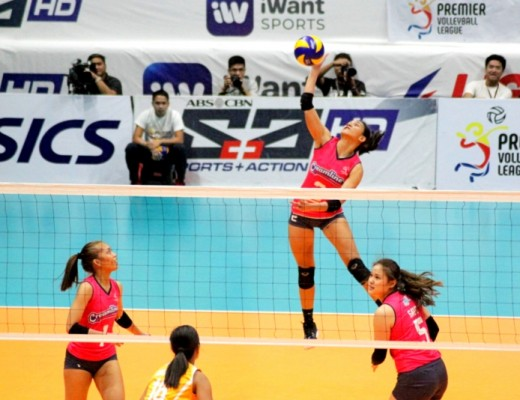 Creamline top hitter Alyssa Valdez soars for an attack during the Cool Smashers opening day match against the Air Force Jet Spikers.
