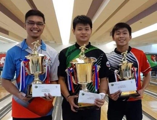 Winners (from left) first runner-up Manman Nierra, champion Merwin Tan and JV Flores of the METBA-DAVAO pose during the awarding of winners at the Kadayawan Bowling Open Championships recently in Davao City.
