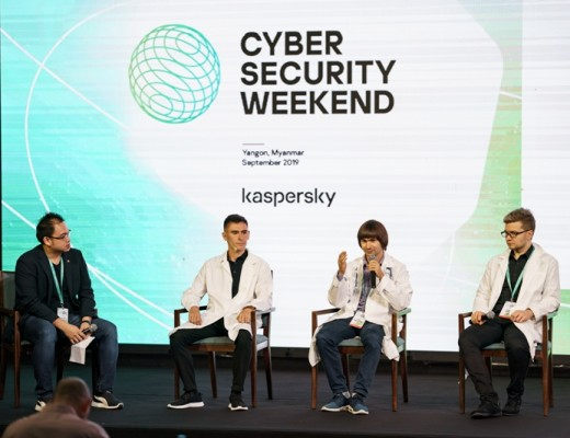 (L-R) Jesmond Chang, Head of Corporate Communications, APAC, Kaspersky; Denis Makrushin, Security Architect at Ingram Micro; Yury Namestnikov, Head of Global Research and Analysis Team (GReAT) Russia at Kaspersky; and Vitaly Kamluk, Director, GReAT APAC, Kaspersky
