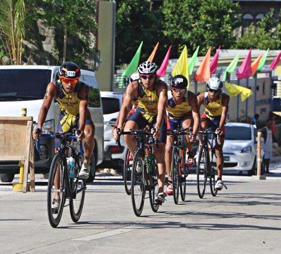 National triathletes John Chicano, Nikko Huelgas, Julius Constantino and Andrew Kim Remolino during the 2018 PSC Philippine National Games in Tabuelan, Cebu.
