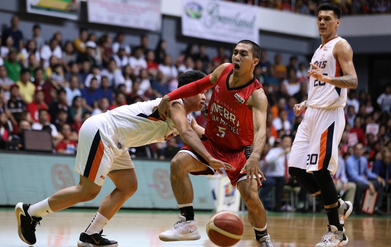 LA Tenorio of Barangay Ginebra is defended by Baser Amer of the Meralco Bolts (PBA Images)