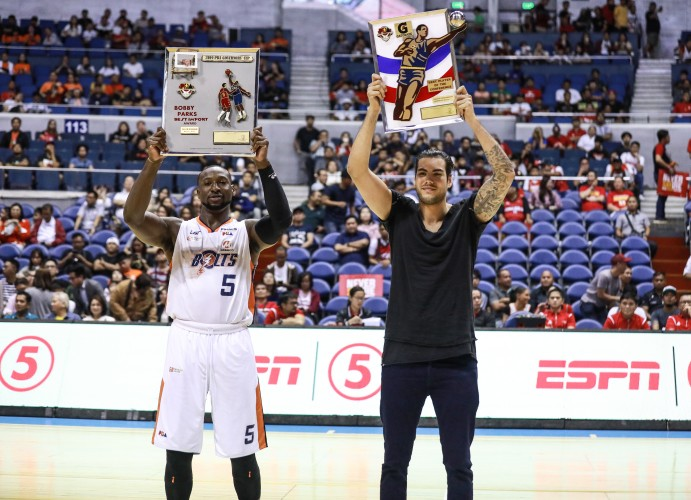 2019 PBA Best Import of the Conference - Allen Durham of Meralco Bolts (L) and 2019 PBA Gatorade Best Player - Christian Standhardinger of NorthPort Batang Pier (PBA Images)