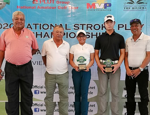 Rianne Malixi (center) and Min Wook Gwon (second from right) hold their trophies as they pose with (from left) organizing NGAP vice president Pepot Iñigo and director Caloy Coscoluella and Riviera GCC president Florian Concepcion after ruling the National Stroke Play Championship.