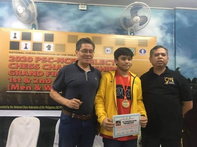 Photo shows FIDE Master Alekhine Nouri, youngest participant at 14 years old, a grade 7 pupil of FEU-Fern Diliman, Quezon City (center) displaying his certificate and the gold medal during the awarding closing rites of the the Philippine Sports Commission-National Chess Federation of the Philippines selection process (Standard event) at the PACE headquarters in Quezon City last Friday. Also in the photo are Asia's First chess grandmaster Eugene Torre and newly-installed NCFP executive director Atty. Cliburn Anthony Orbe