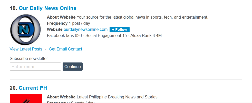 Our Daily News Online Now Recognized Top Site In PH