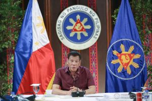 President Rodrigo Roa Duterte updates the nation on the government's efforts in addressing the coronavirus disease (COVID-19) at the Malago Clubhouse in Malacañang on May 19, 2020. KARL NORMAN ALONZO/PRESIDENTIAL PHOTO