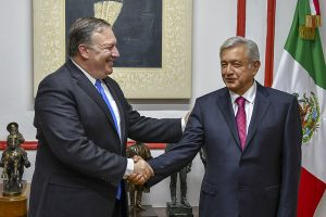 U.S. Secretary of State Michael R. Pompeo meets with Mexican President-elect Andres Manuel Lopez Obrador in Mexico City, Mexico on July 13, 2018. [State Department photo/ Public Domain] | [ photo : U.S. Secretary of State Michael R. Pompeo meets with Mexican President-elect Andres Manuel Lopez Obrador in Mexico City, Mexico on July 13, 2018. [State Department photo/ Public Domain] |Wikimedia Commons]