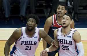 Joel Embiid (L) and Ben Simmons (R) of the Philadelphia 76ers [photo: Keith Allison | Flickr] CC BY-SA 2.0