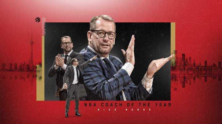 NBA: Raptors' Nick Nurse named Coach of the Year