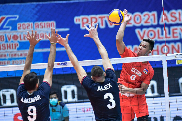 The PH Rebisco team put up a galant stand against the Iranian in the first two sets before bowing, 15-25, 22-25, 5-25, in the Asian Men's Club Volleyball Championship on Friday at the Terminal 21 competition hall in Nakhon Ratchasima, Thailand. [Photo: Asian Volleyball Confederation / Eddy Phongphakthana]