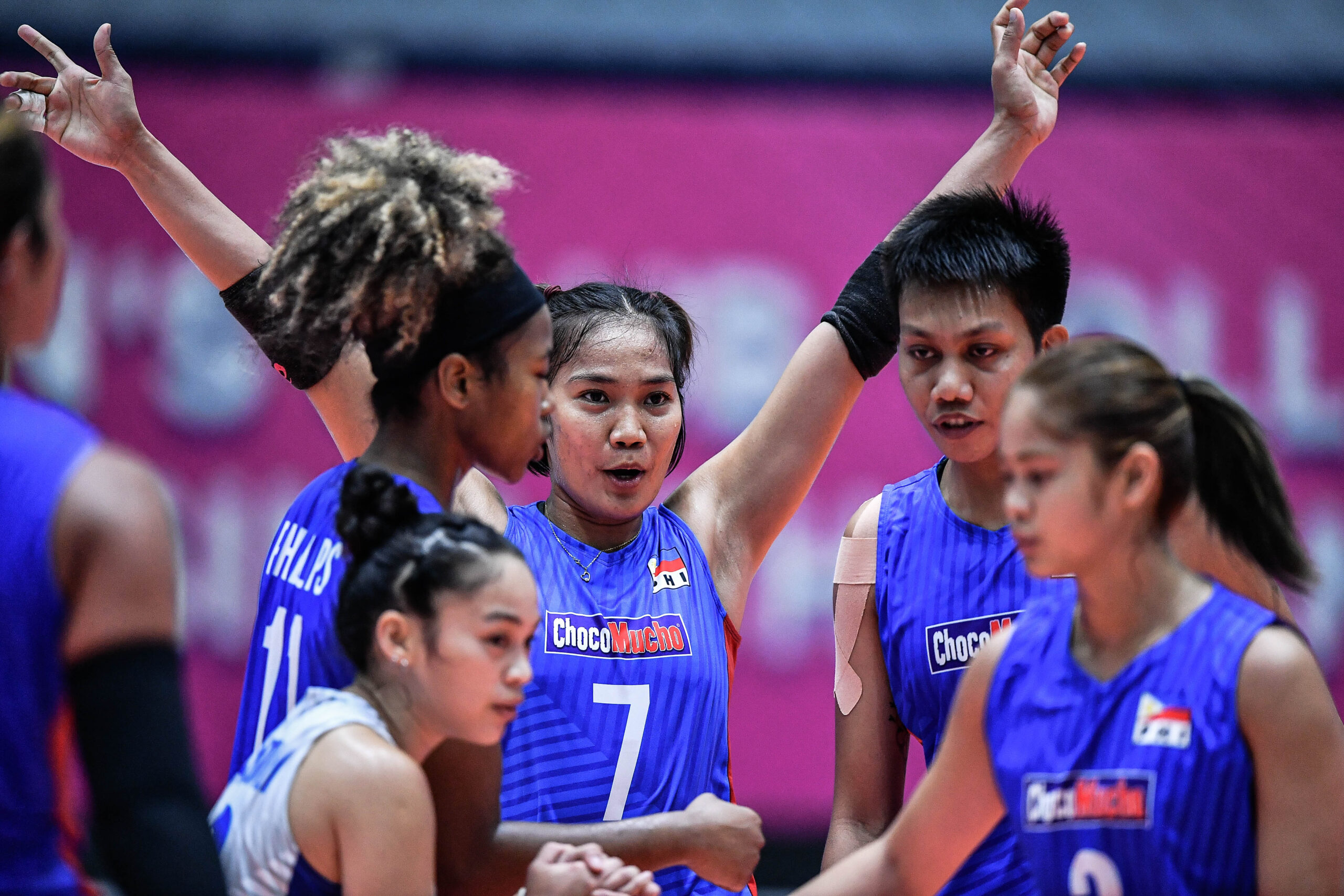 Team PH Choco Mucho team in their game against Thailand's Nakhon Ratchasima QminC VC at the 21st Asian Women's Club Volleyball Championship campaign at the Terminal 21 competition hall in Nakhon Ratchasima, Thailand. [Asian Volleyball Confederation | Eddy Phongphakthana]