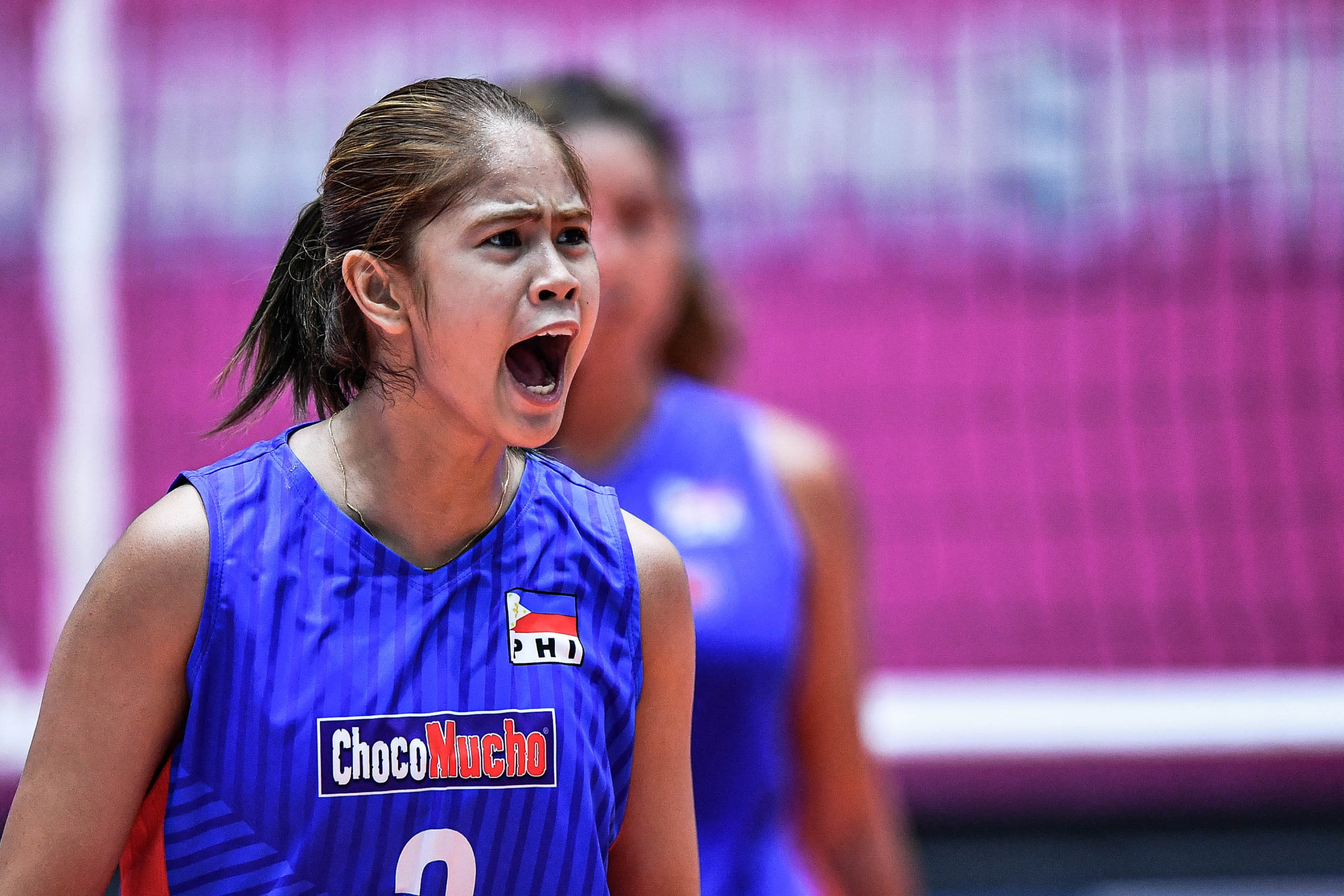 Deanna Wong Team PH Choco Mucho team in their game against Thailand's Nakhon Ratchasima QminC VC at the 21st Asian Women's Club Volleyball Championship campaign at the Terminal 21 competition hall in Nakhon Ratchasima, Thailand.  [Asian Volleyball Confederation | Eddy Phongphakthana]