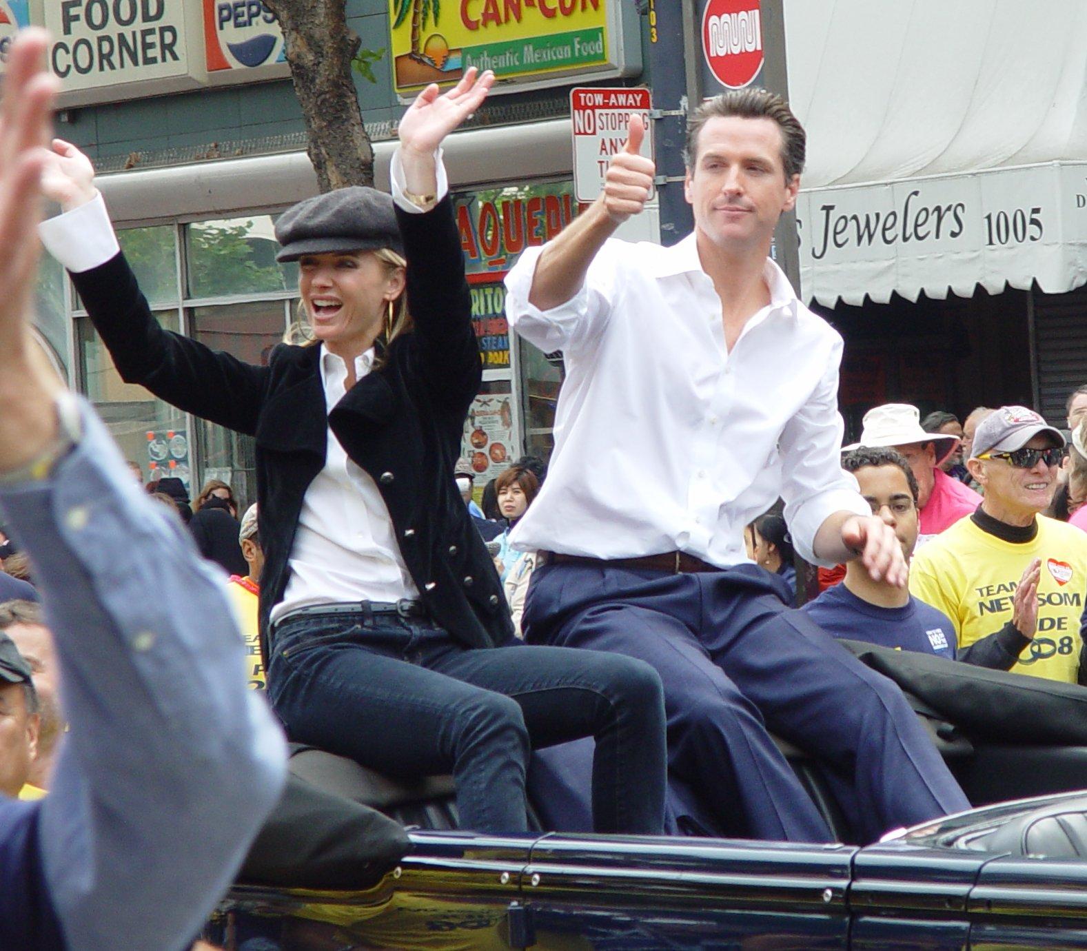 San Francisco major Gavin Newsom with his fiancee Jennifer Siebel at the 2008 Gay Parade San Francisco, CA [Wikimedia Commons | Franco Folini]